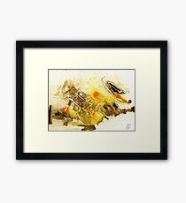 yellow and brown abstract Framed Print