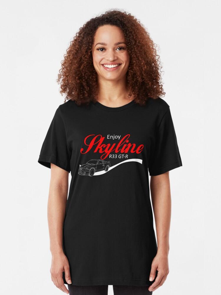 Alternative Ansicht von Enjoy Skyline R33 GT-R Slim Fit T-Shirt