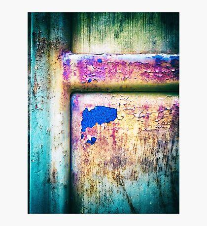 Blue in rusty door Photographic Print