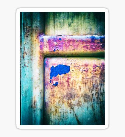 Blue in rusty door Sticker