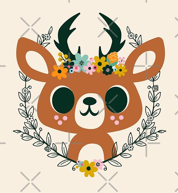Deer with Flowers by jsongdesign