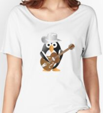 Funny penguin with guitar Women's Relaxed Fit T-Shirt