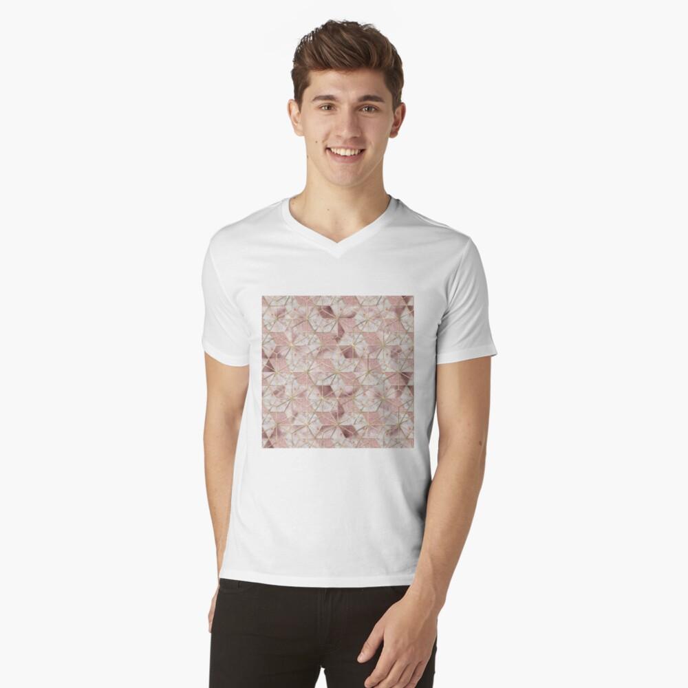 Modernes Rosengoldgeometrisches Sternblumenmuster T-Shirt mit V-Ausschnitt