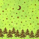 Sparkly Christmas tree, stars, moon on abstract green paper by homemadecreate