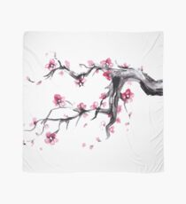 Watercolor Spring blossoms - japanese symbol Scarf