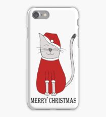 cute cat illustration christmas iPhone Case/Skin