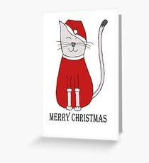 cute cat illustration christmas Greeting Card