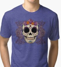 Vintage Skull and Roses Tri-blend T-Shirt