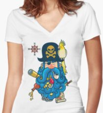 Pirate Portrait Women's Fitted V-Neck T-Shirt