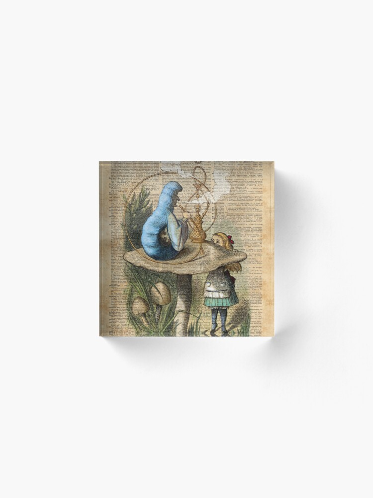 Alternate view of Alice,Mushroom and Jin,Vintage Dictionary Art Acrylic Block