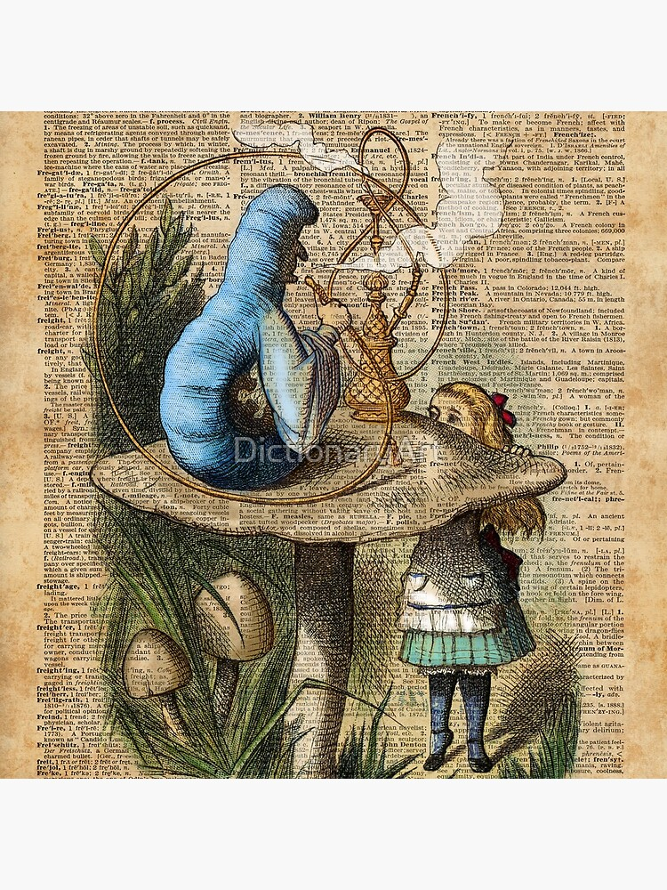 Alice,Mushroom and Jin,Vintage Dictionary Art by DictionaryArt