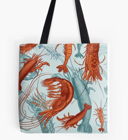 Shrimp - Orange and Turquoise Tote Bag