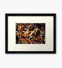 Fire on dark marble texture. Framed Print