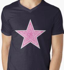 Pink Star Mens V-Neck T-Shirt