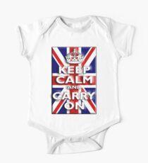 Keep Calm, & Carry On, Union Jack, Flag, Blighty, UK, GB, Be British! One Piece - Short Sleeve