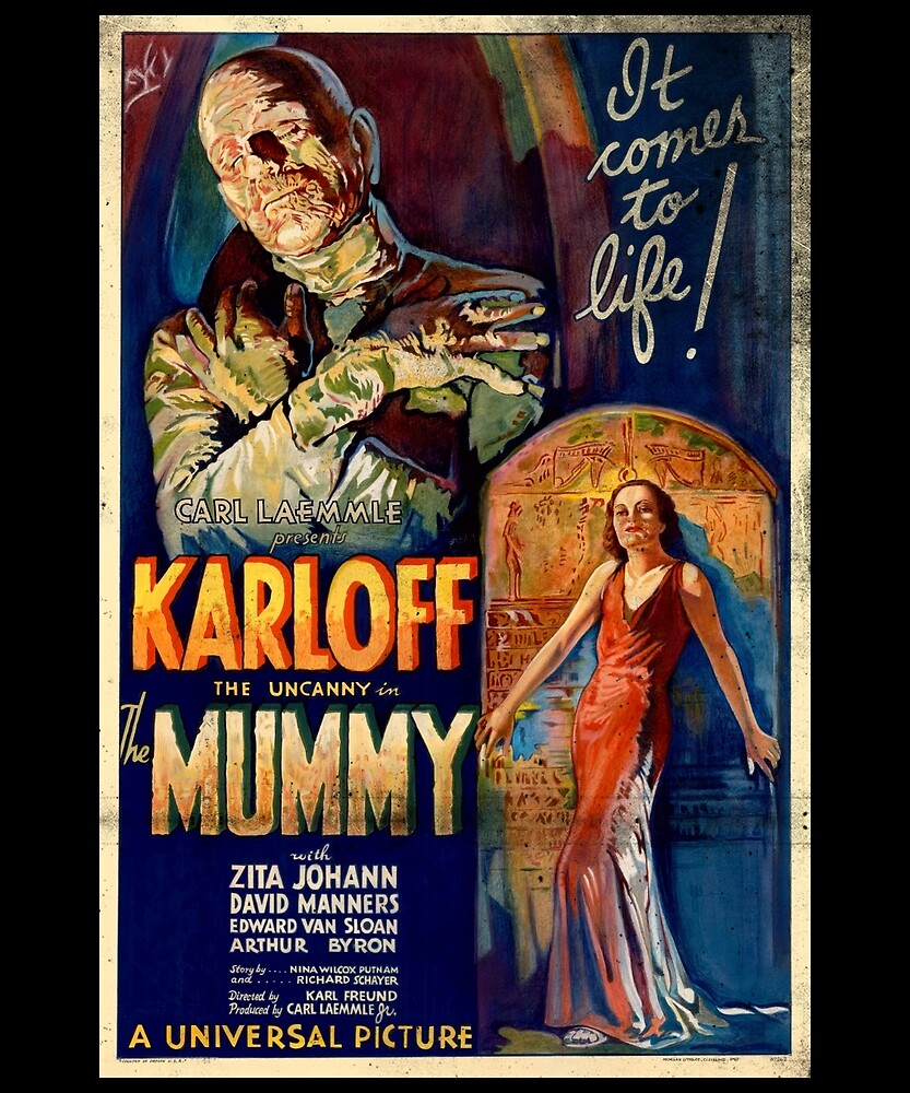 Mummy Boris Karloff Movie Vintage Poster by Flying Joe