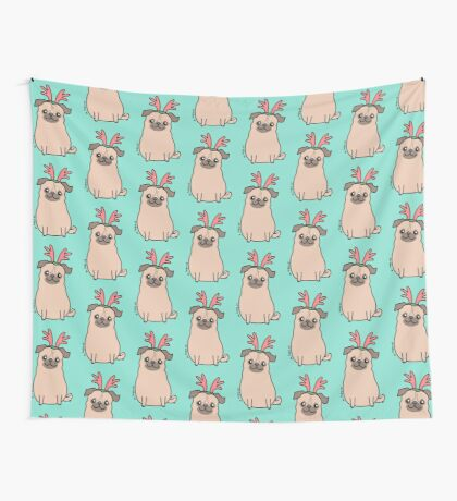 Pug Wearing Reindeer Antlers Wall Tapestry