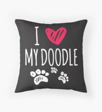 I love my doodle Throw Pillow