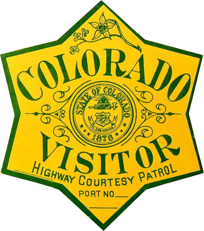 """""""Colorado Visitor Highway Patrol Vintage Decal"""" Stickers"""