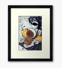 Waffles with Chocolate Icing with Coffee Framed Print