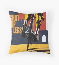 retro styled Tour de France cycling illustration poster print: SHUT UP LEGS Throw Pillow