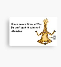 Giraffe Zenimal with Buddha Quote Metal Print