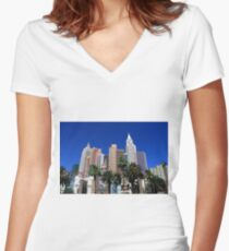 Las Vegas Strip Women's Fitted V-Neck T-Shirt