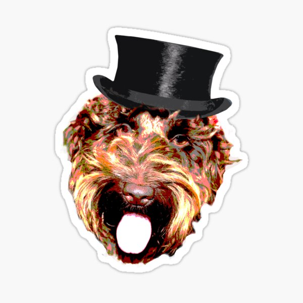 Cockapoo in a Top Hat (Gold) Sticker
