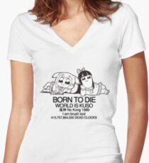 BORN TO DIE Women's Fitted V-Neck T-Shirt