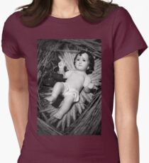 Jesus in the crib Womens Fitted T-Shirt