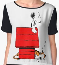 Snoopy and Hobbes Chiffon Top