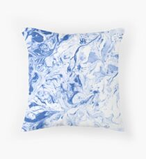 Blue and white marble texture.  Throw Pillow