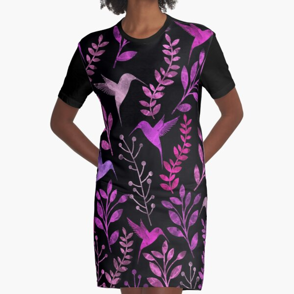 Floral and Bird  Graphic T-Shirt Dress