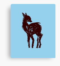Looking Back Deer (Blue Version) Canvas Print