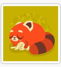 Sleeping Red Panda and Bunny Sticker