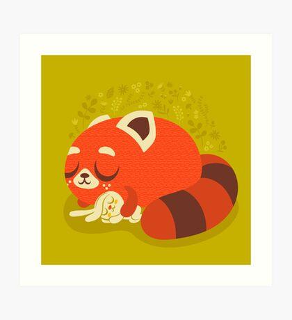 Sleeping Red Panda and Bunny Art Print