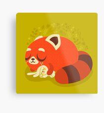 Sleeping Red Panda and Bunny Metal Print