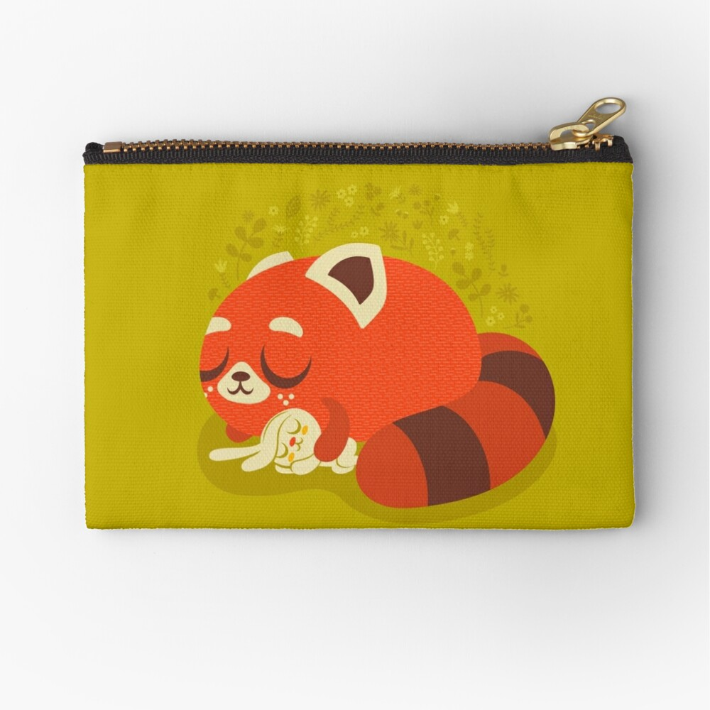 Sleeping Red Panda and Bunny Zipper Pouch