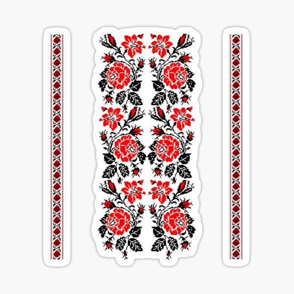 European Ukrainian Ladies Embroidery Floral Design Red Black Flowers Ukrainian Souvenir For Her Sticker