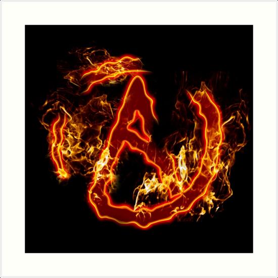 Atheist Fire Symbol Art Prints By Zoey Underwood Redbubble