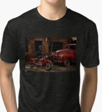 Indian 101 Scout and Chevy truck at a garage Tri-blend T-Shirt