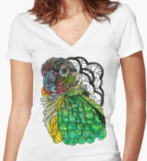 Green Cheeked Conure Women's Fitted V-Neck T-Shirt