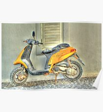 Yellow Moped Poster