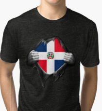 Dominican Republic Flag  Tri-blend T-Shirt