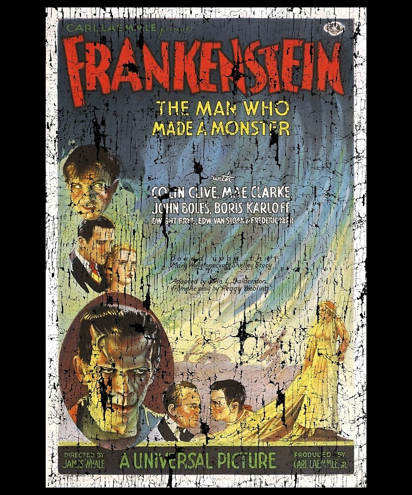 Frankenstein Boris Karloff Movie Vintage Poster by Flying Joe