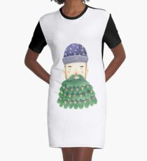 Hipster Christmas Graphic T-Shirt Dress
