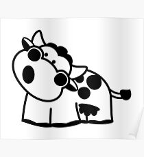 Black & White Cow Poster