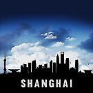 Shanghai China Skyline Cityscape Nightfall by T-ShirtsGifts