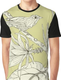 Bird on Orchid Cactus Graphic T-Shirt