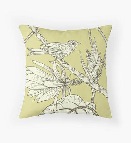 Bird on Orchid Cactus Throw Pillow